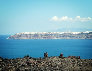 View of Santorini from the volcano