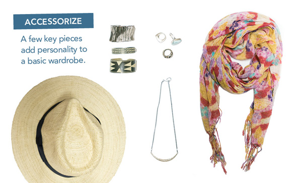 Coordinated accessories enhance your wardrobe.