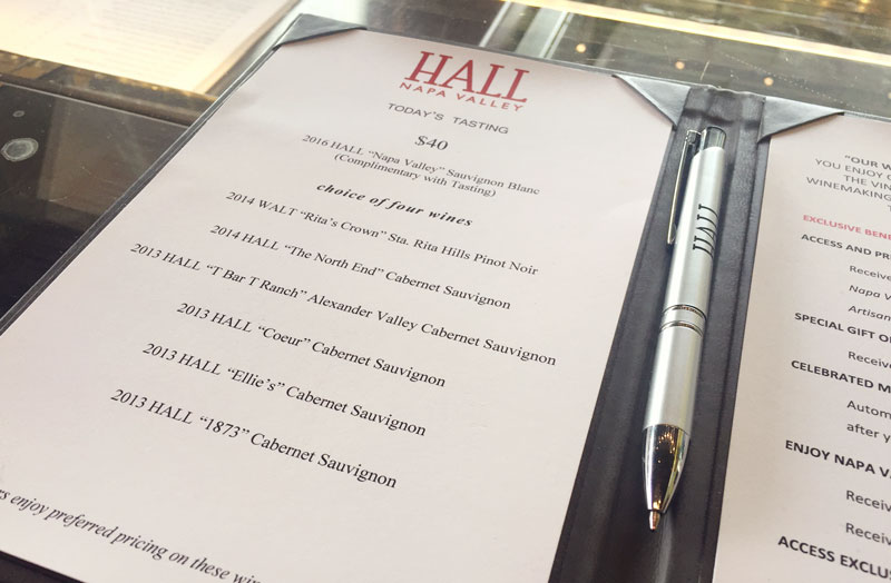 Hall Wines Tasting Menu